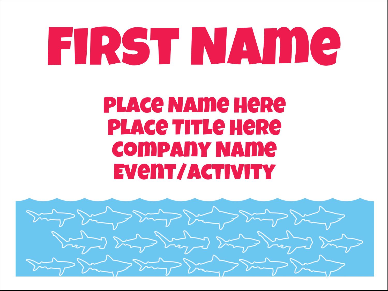 """3"""" x 4"""" Name Tags - Blue Sharks"""