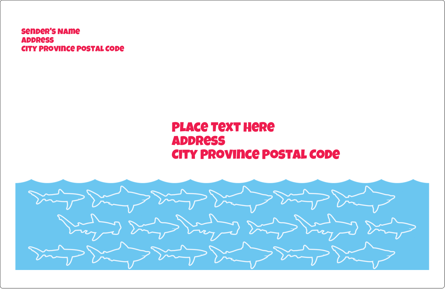 "5½"" x 8½"" Shipping Label - Blue Sharks"