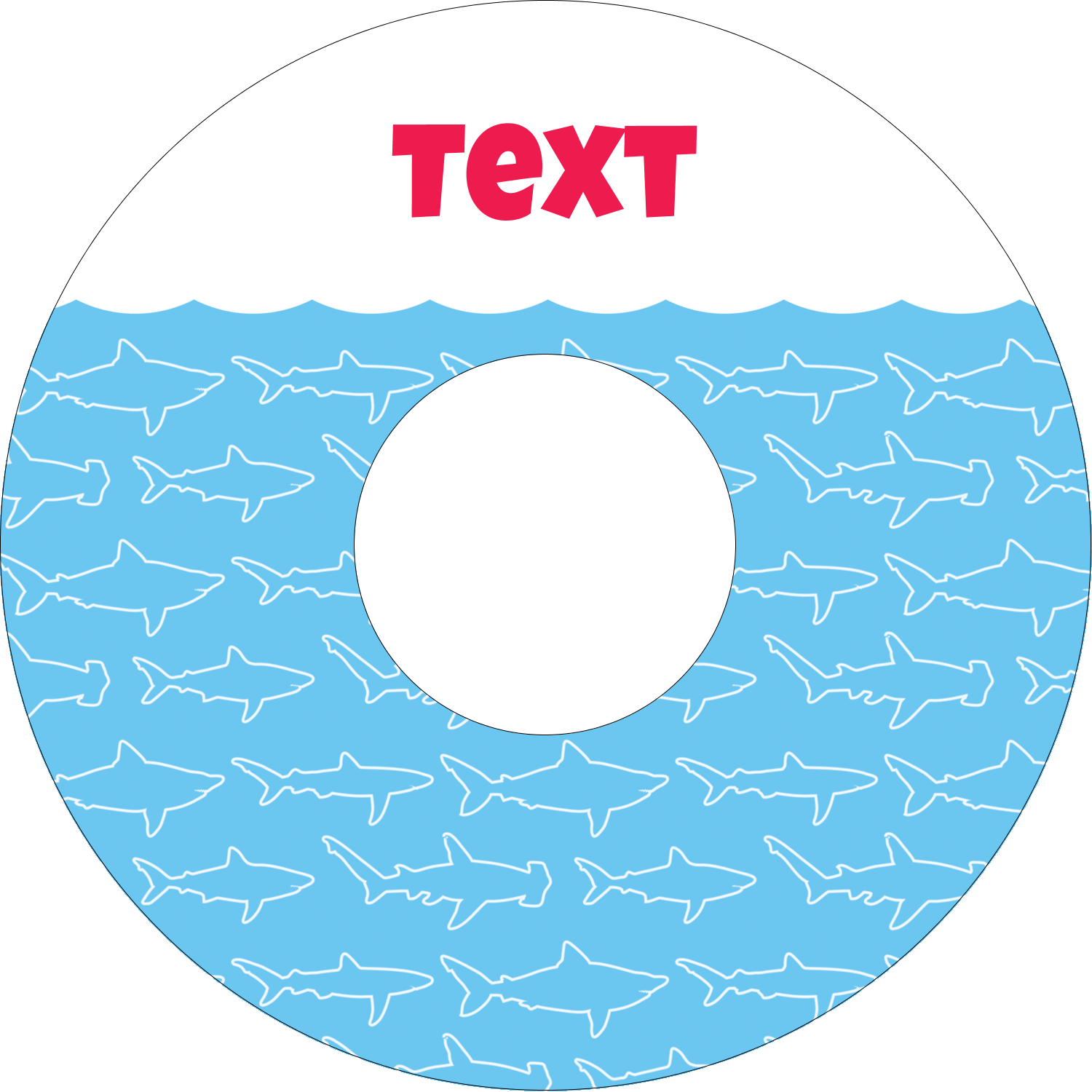 "4.65"" CD-DVD Label - Blue Sharks"