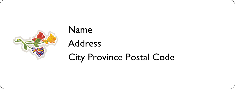 x  Address Label - Three Flowers