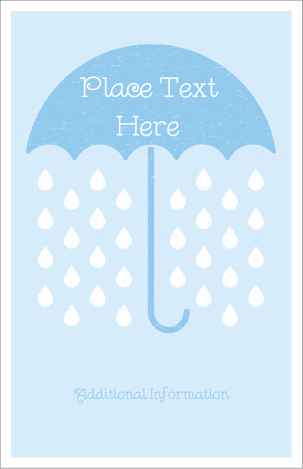 "5"" x 8½"" Half Fold Card - Baby Umbrella"