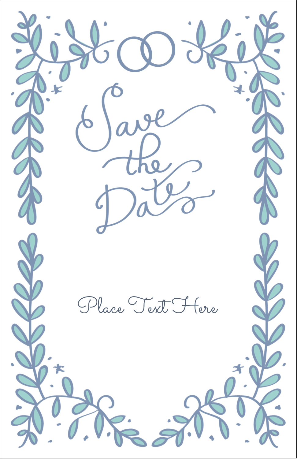 "5"" x 8½"" Half Fold Card - Save the Date Blue"