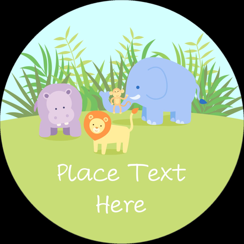 "1½"" Round Label - Baby Safari"