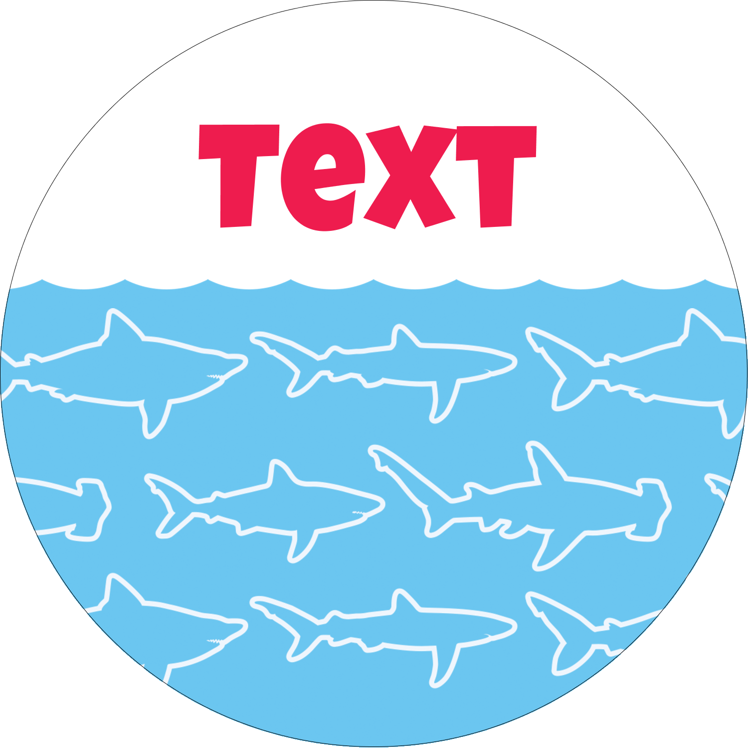 "1½"" Round Label - Blue Sharks"