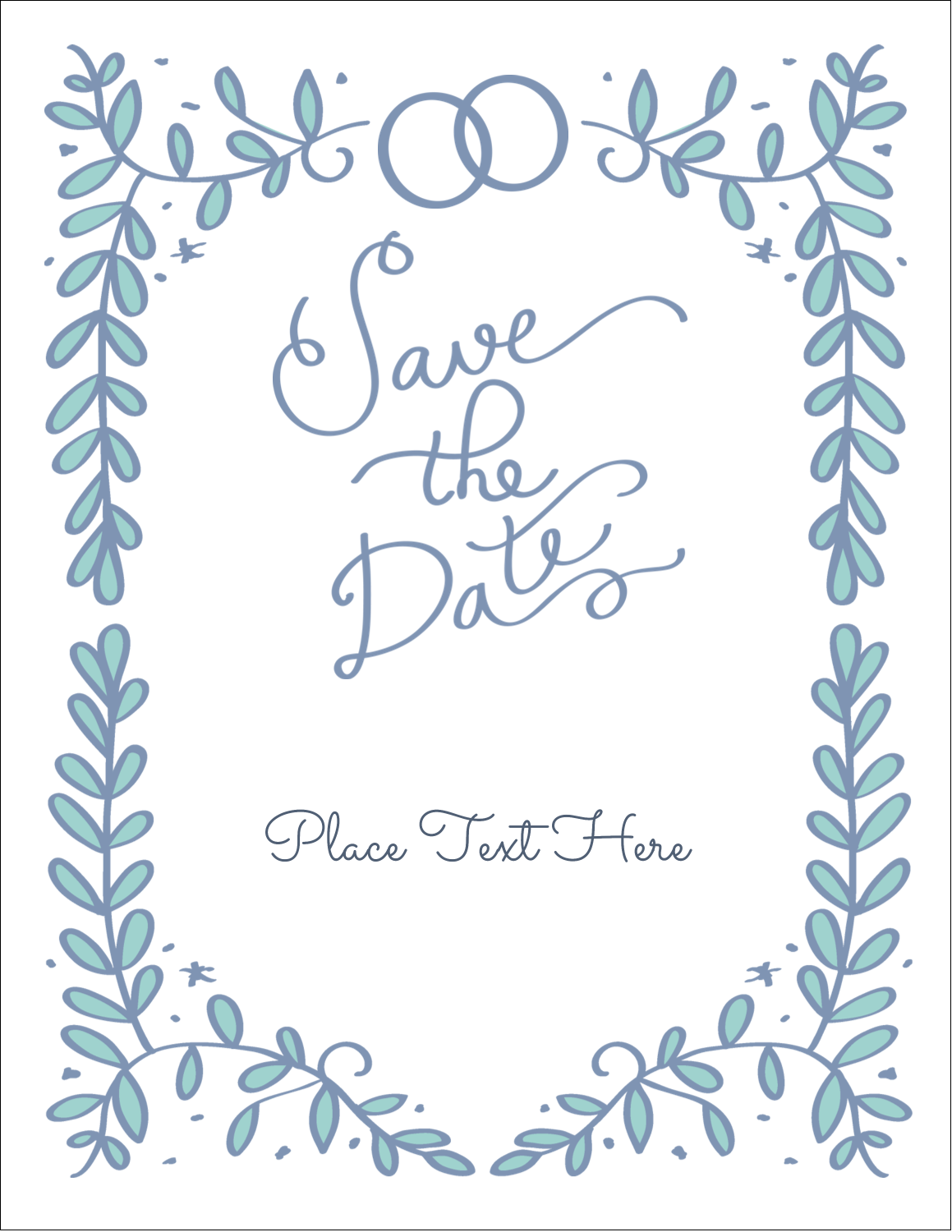 "5½"" x 8½"" Greeting Card - Save the Date Blue"