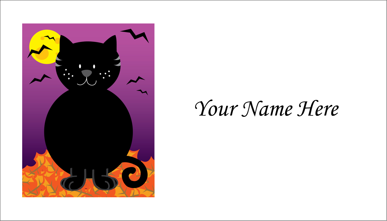 "2"" x 3½"" Business Card - Black Cat Halloween"
