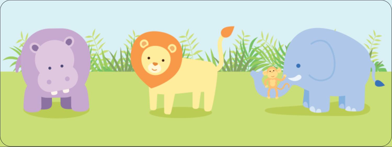 "⅔"" x 1¾"" Address Label - Baby Safari"