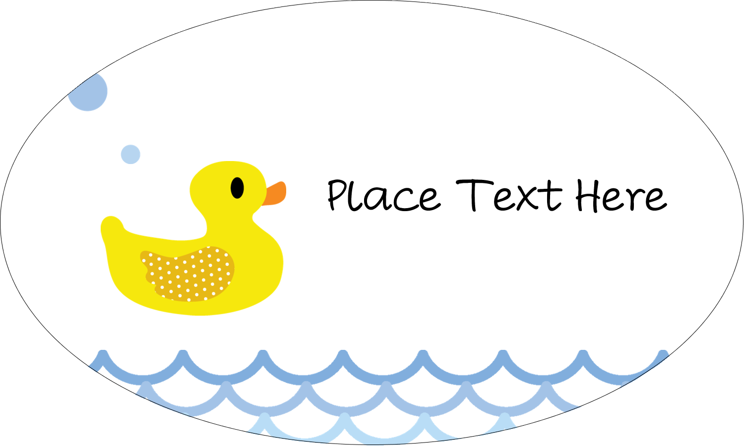 "1½"" x 2½"" Oval Glossy Label - Baby Duckie"