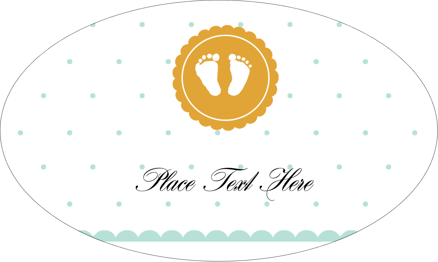 "1½"" x 2½"" Oval Glossy Label - Baby Footprints"