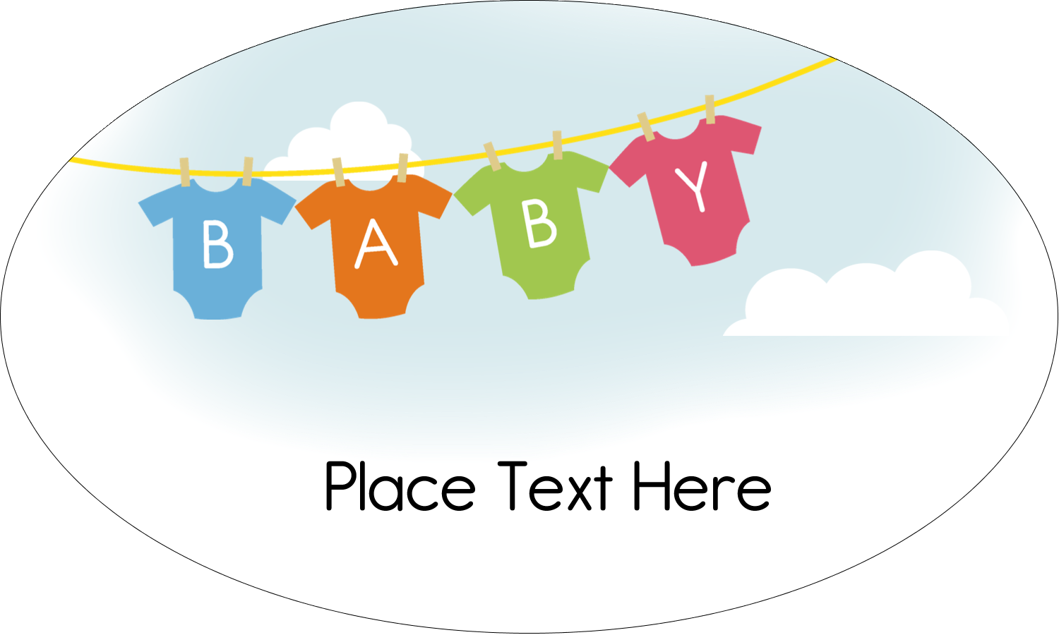"""1½"""" x 2½"""" Oval Glossy Label - Baby Onesies"""