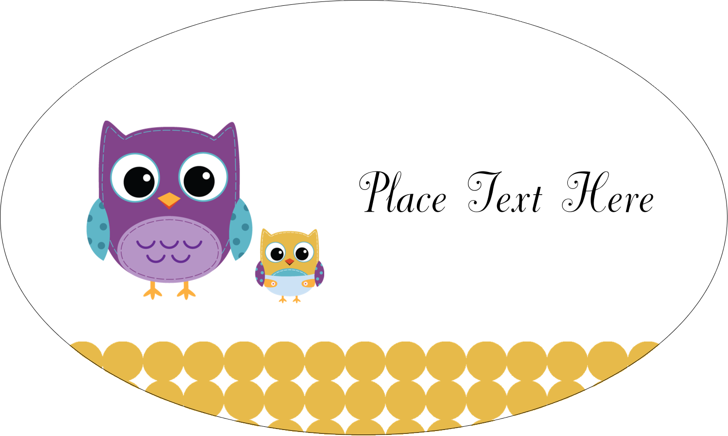 "1½"" x 2½"" Oval Glossy Label - Baby Owl"