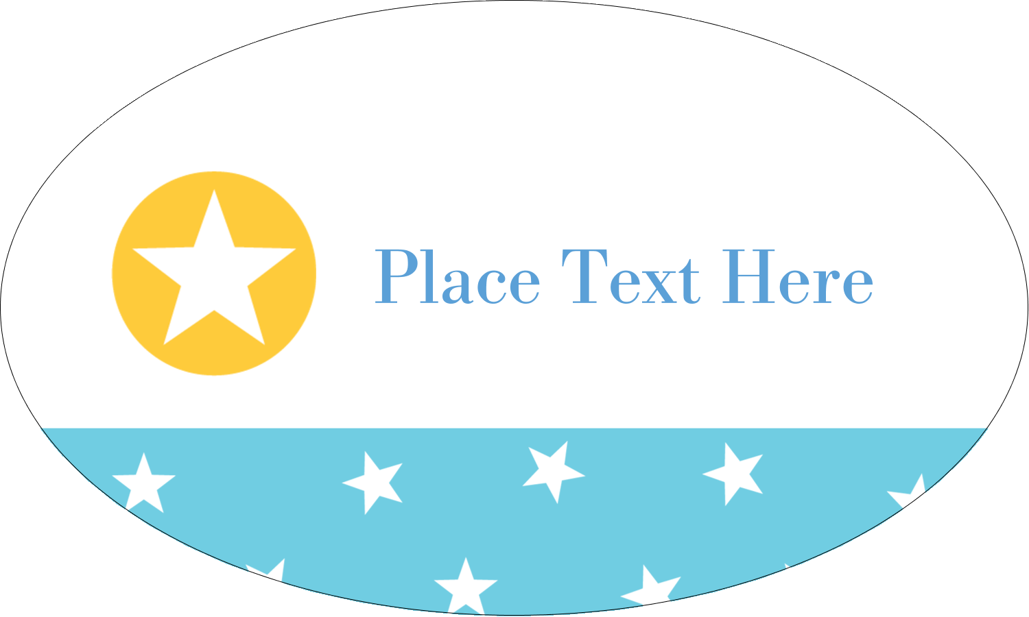 "1½"" x 2½"" Oval Glossy Label - Blue Yellow Stars"