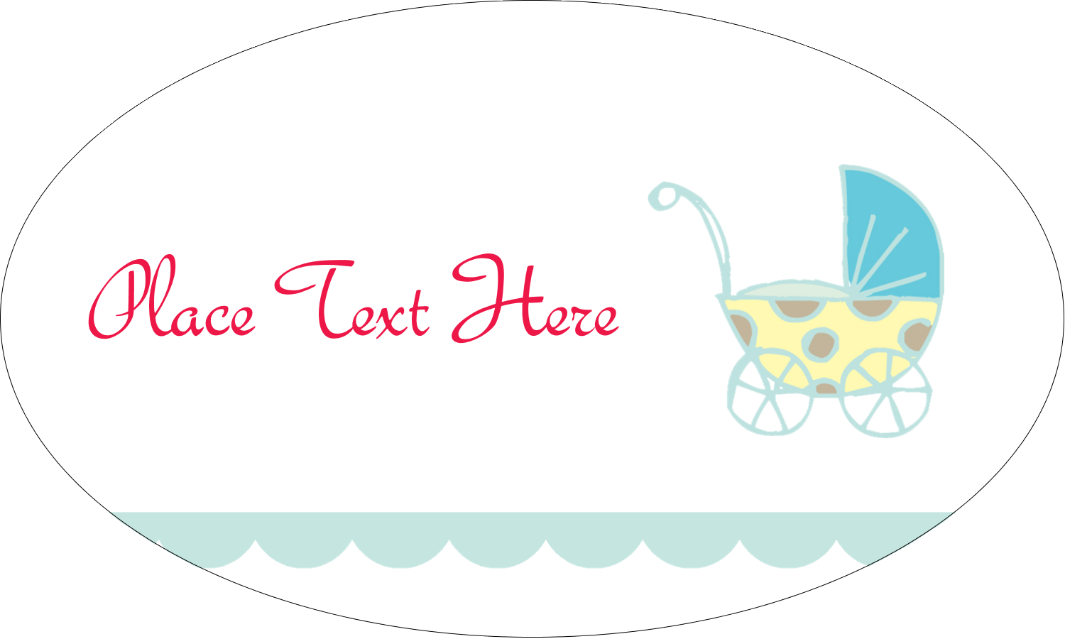 "1½"" x 2½"" Oval Glossy Label - Baby Stroller Blue"