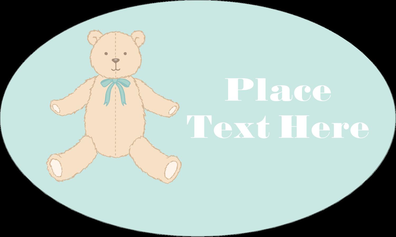 "1½"" x 2½"" Oval Glossy Label - Baby Teddy Bear"