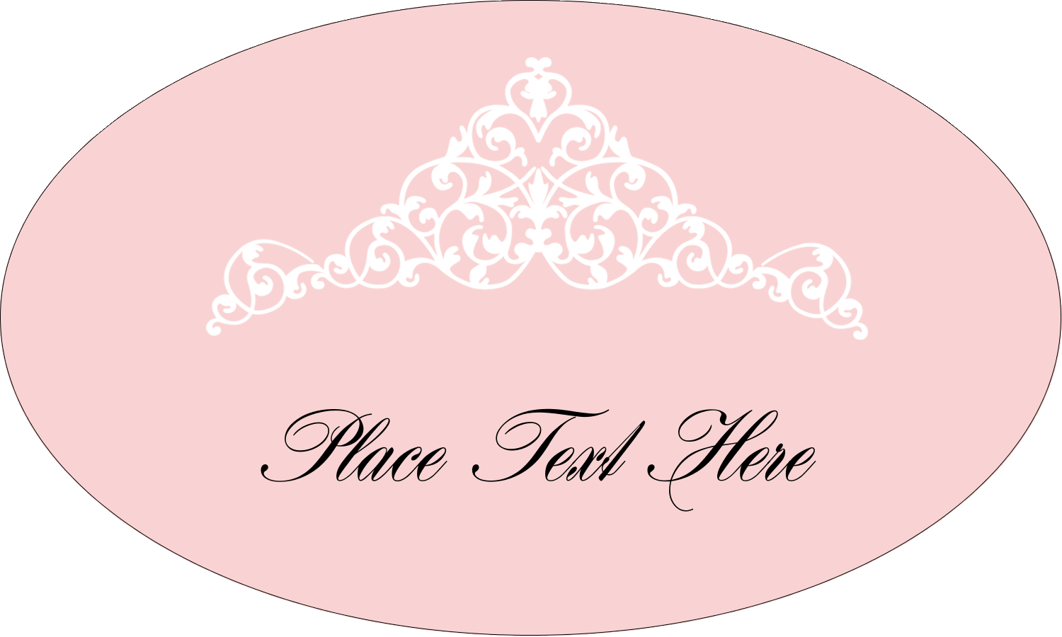 "1½"" x 2½"" Oval Glossy Label - Pink Tiara"