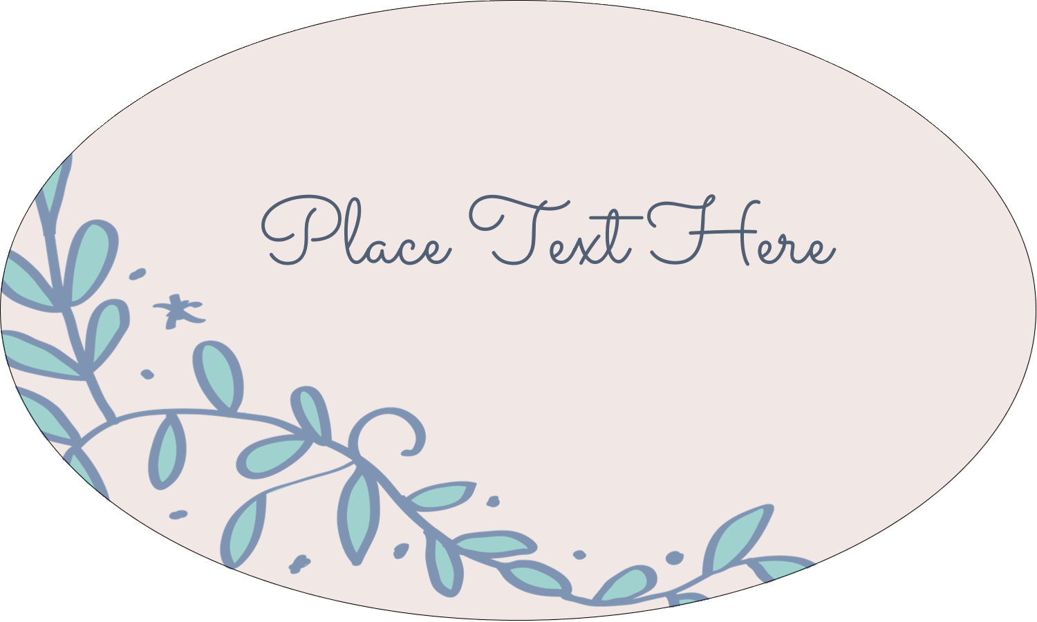 """1½"""" x 2½"""" Oval Glossy Label - Save the Date Blue"""