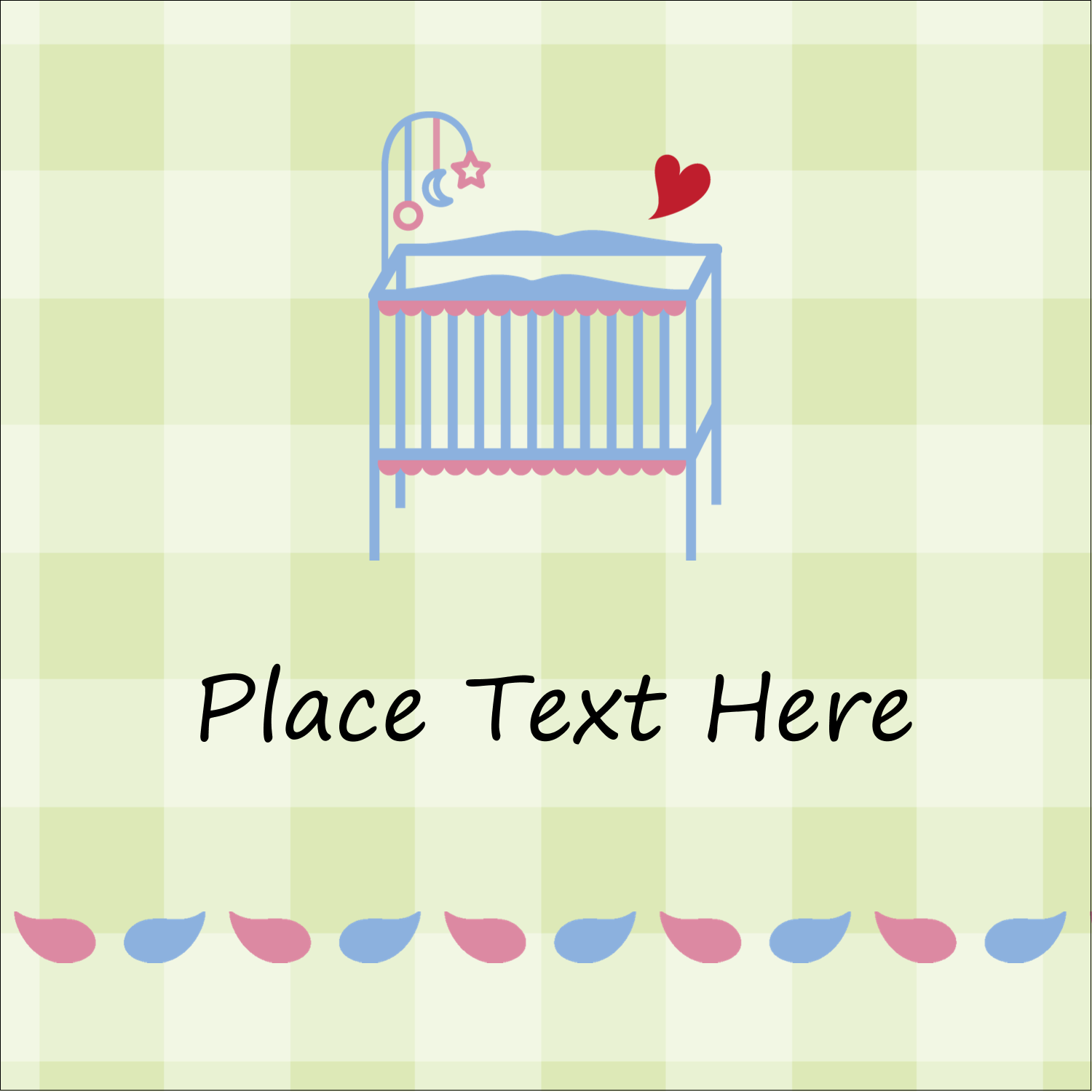 "1½"" x 1½"" Square Label - Baby Crib"
