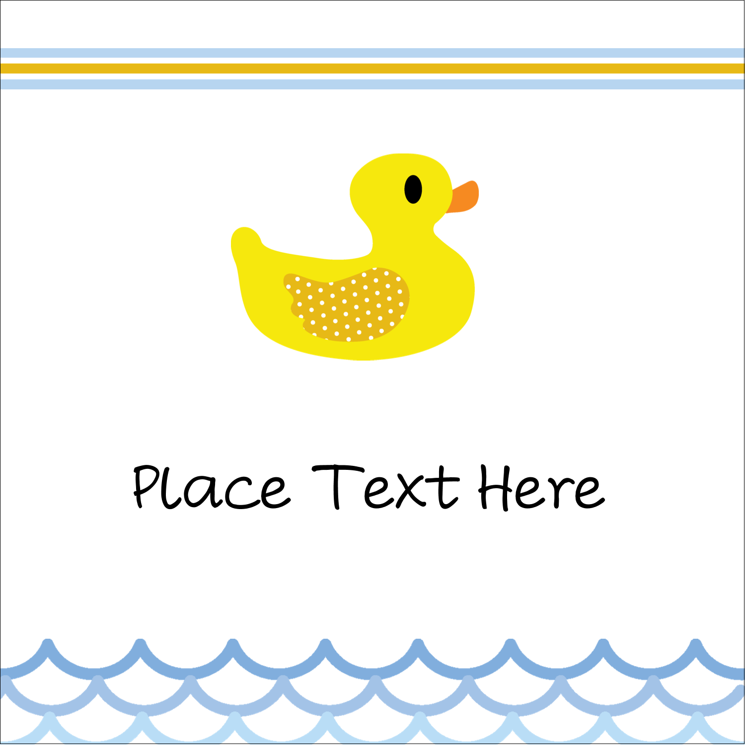 "1½"" x 1½"" Square Label - Baby Duckie"