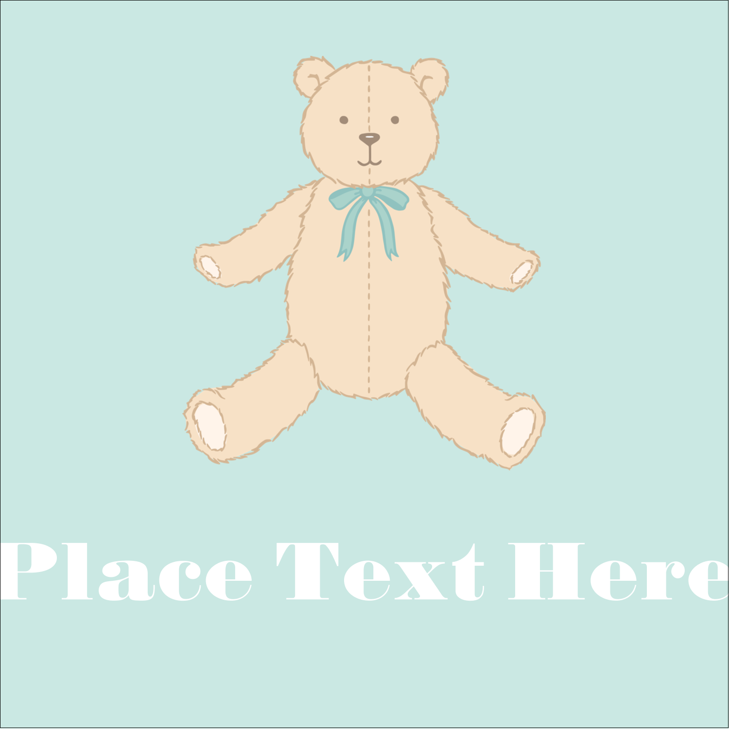 "1½"" x 1½"" Square Label - Baby Teddy Bear"