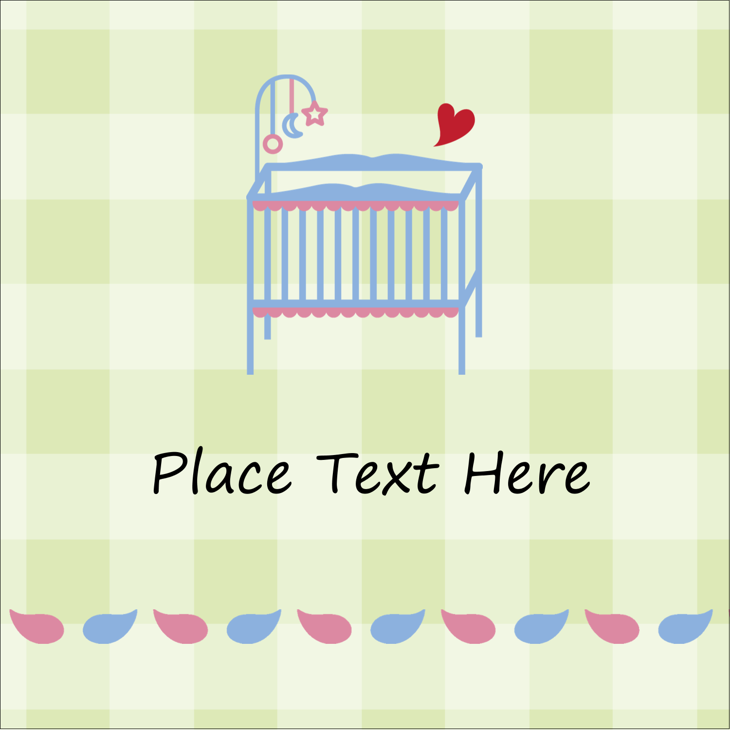 "2"" x 2"" Square Label - Baby Crib"