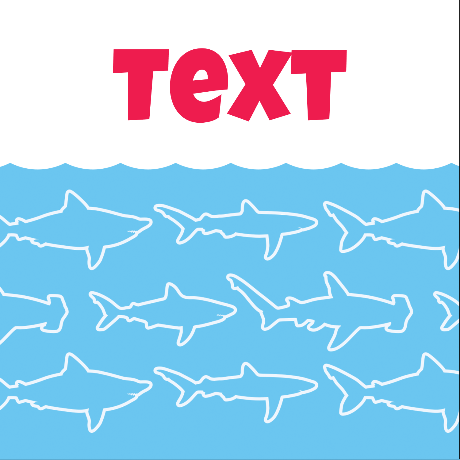 "2"" x 2"" Square Label - Blue Sharks"