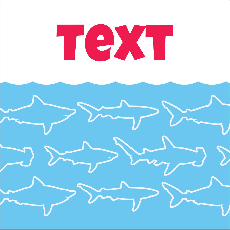 "2"" x 2"" Sqaure Label - Blue Sharks"