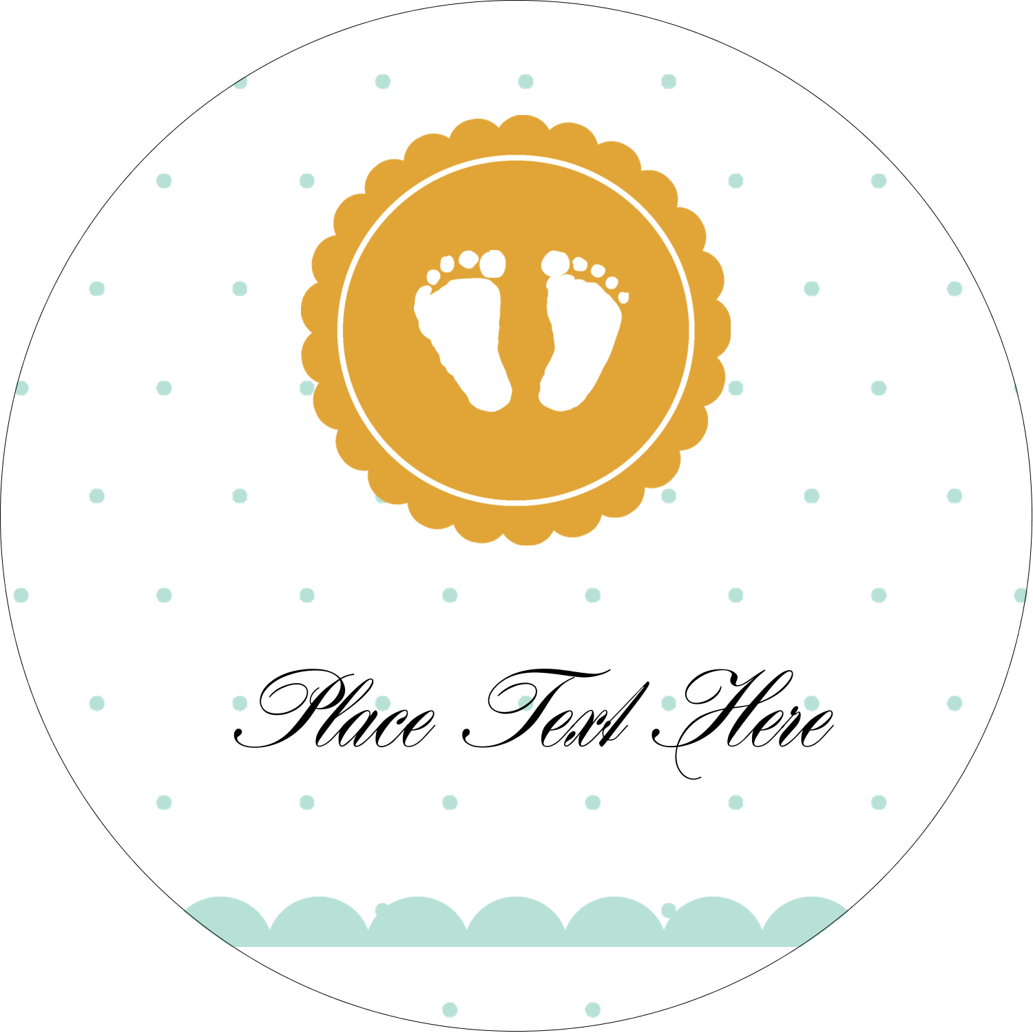 "2"" Round Label - Baby Footprints"