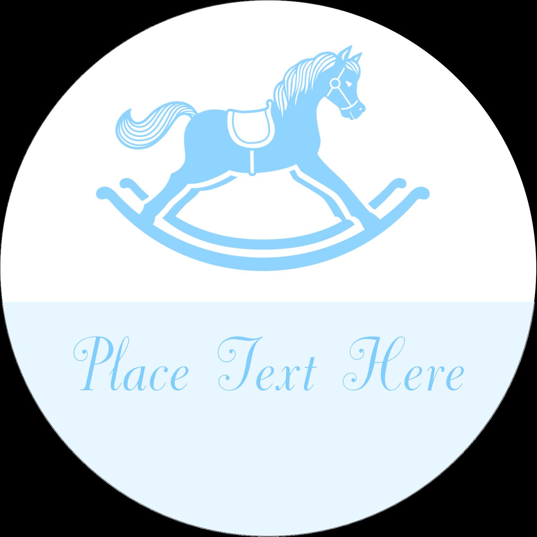 """2"""" Round Label - Baby Rocking Horse"""
