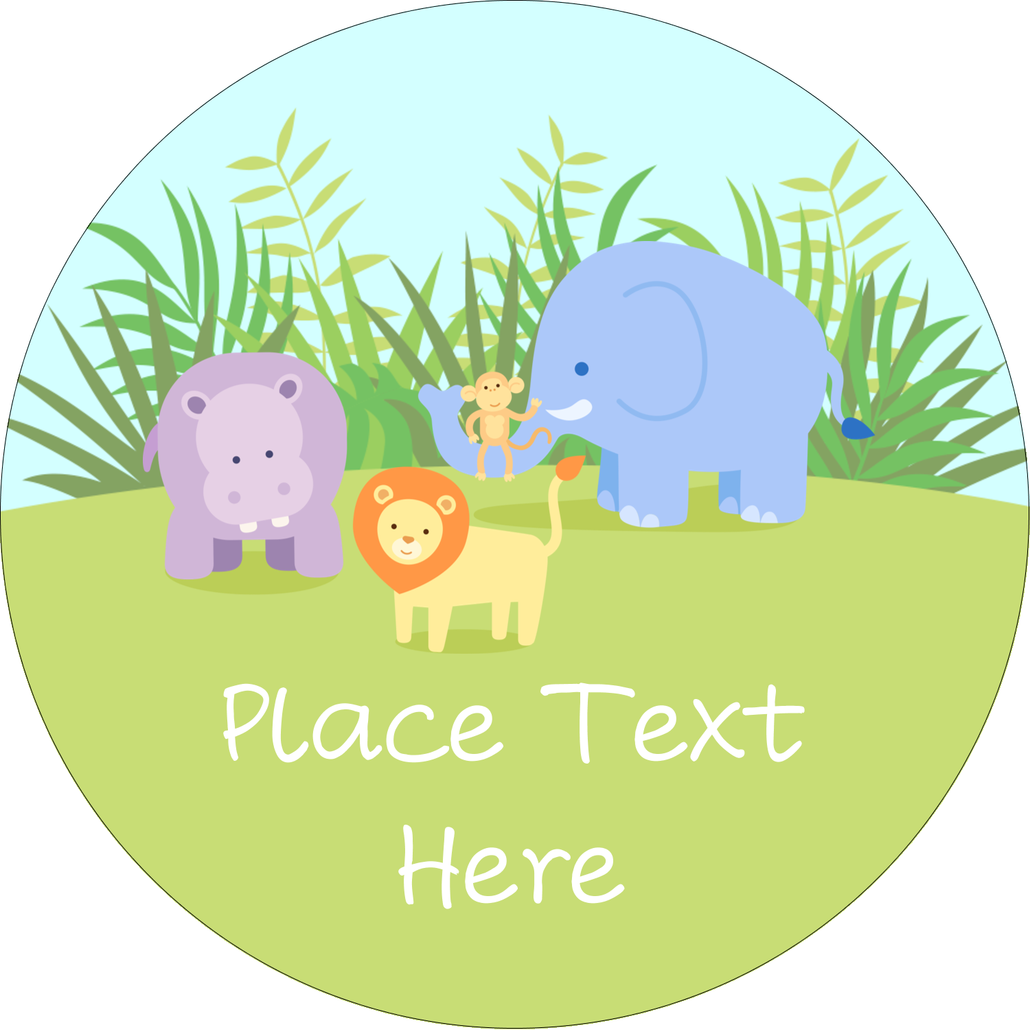 "2"" Round Label - Baby Safari"