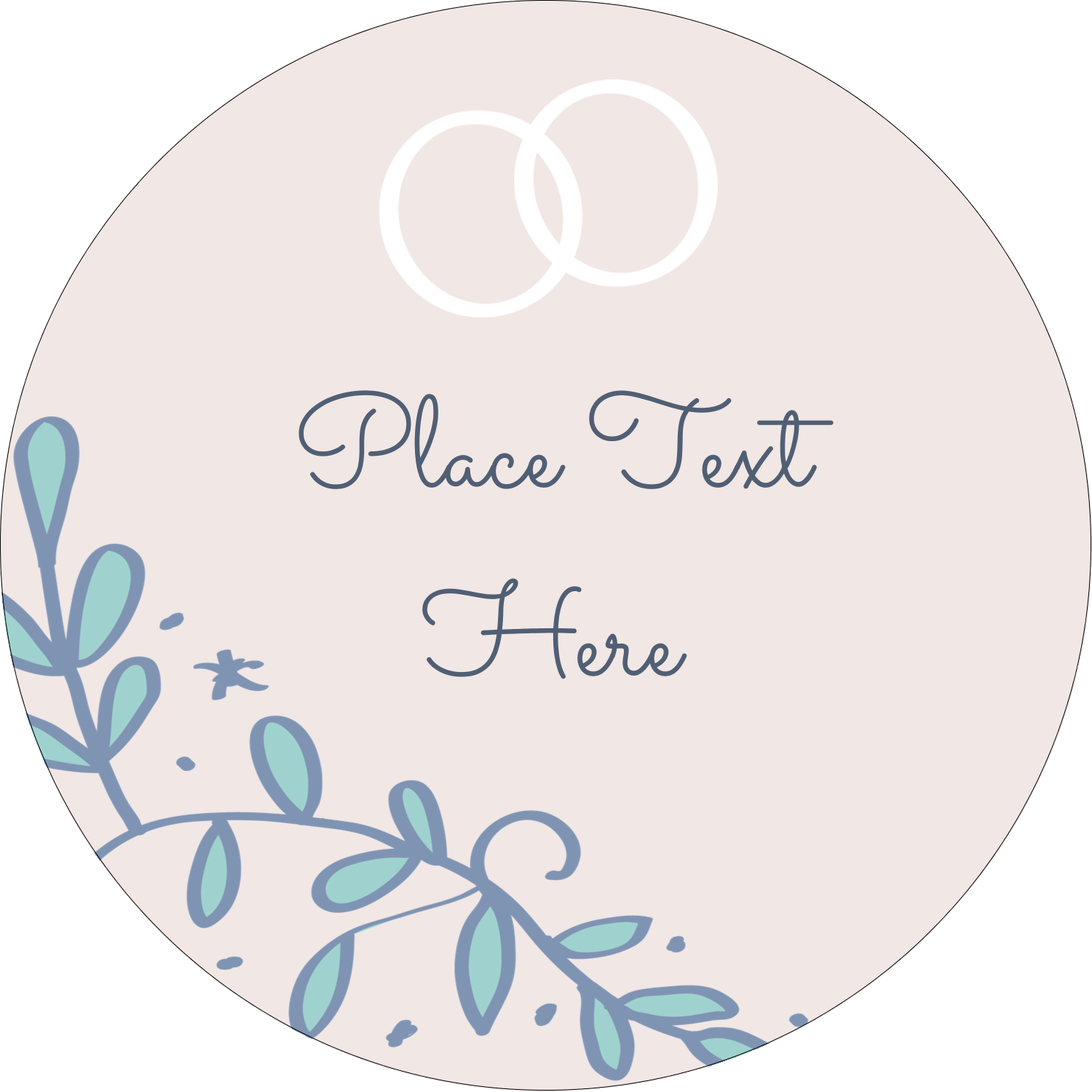 "2"" Round Label - Save the Date Blue"