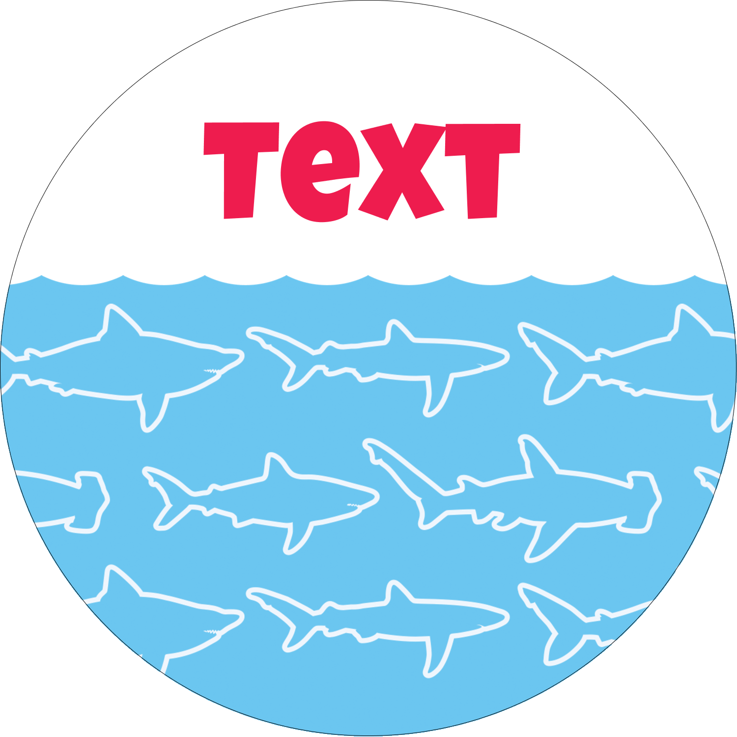 "2"" Round Label - Blue Sharks"