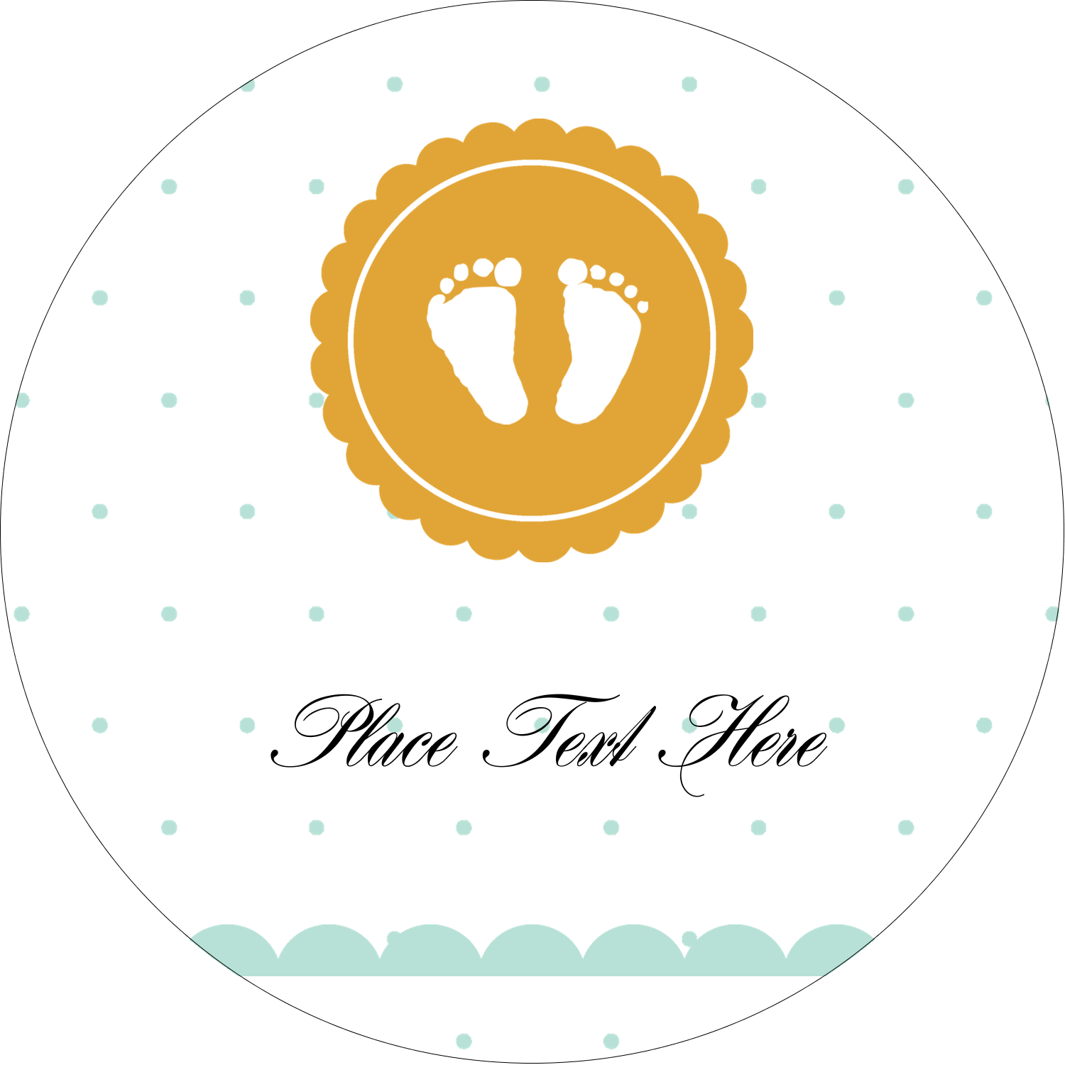 "2½"" Round Label - Baby Footprints"