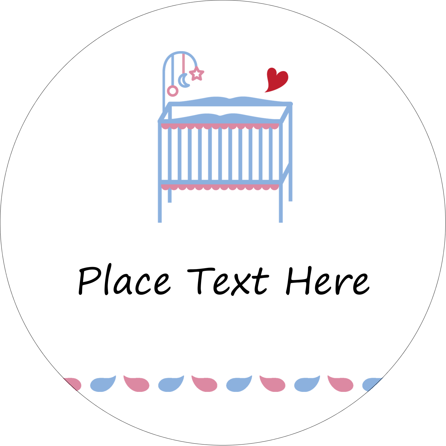 "2"" Embossed Round Label - Baby Crib"