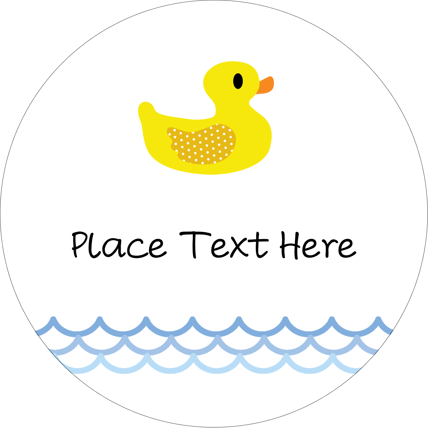 "2"" Embossed Round Label - Baby Duckie"