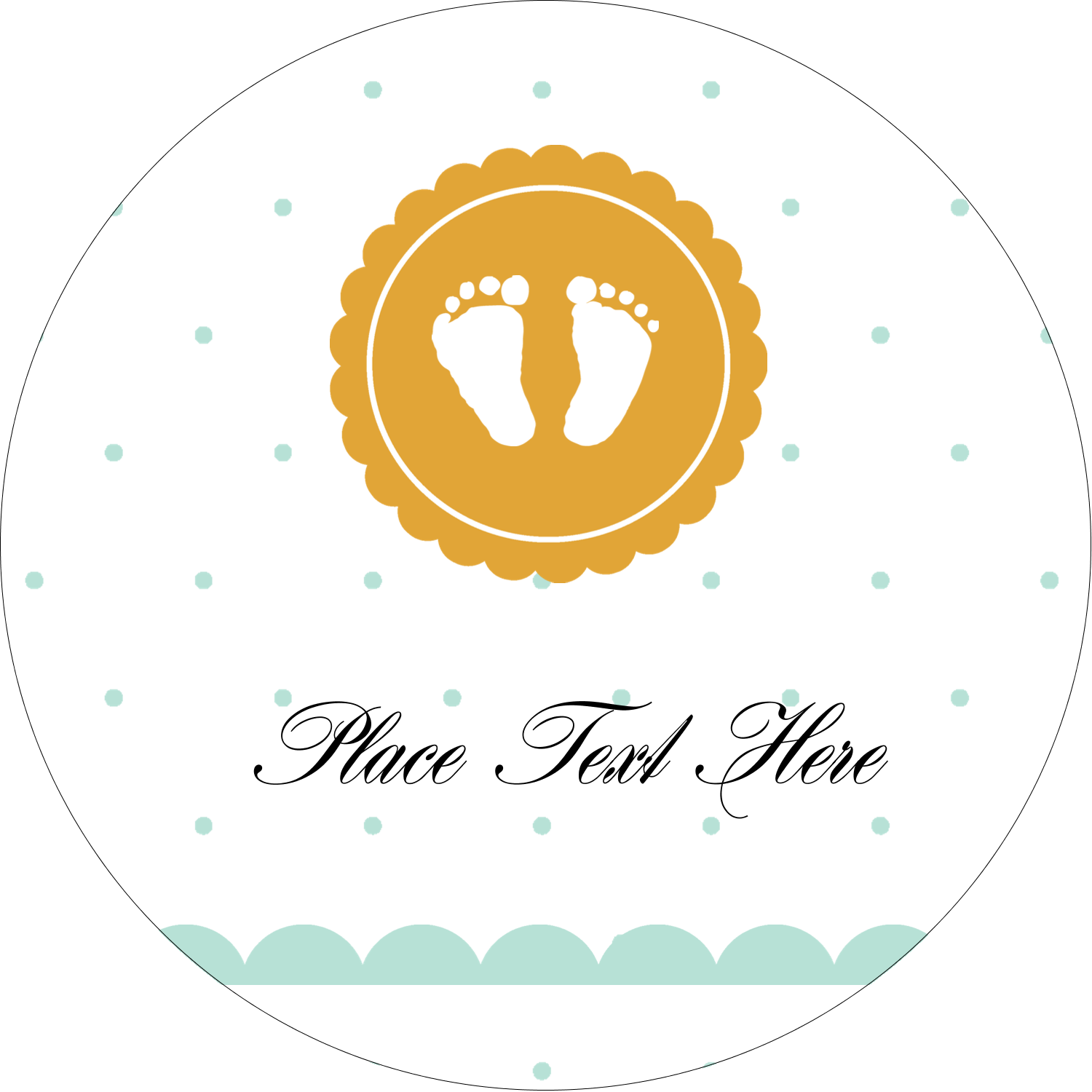 "2"" Embossed Round Label - Baby Footprints"