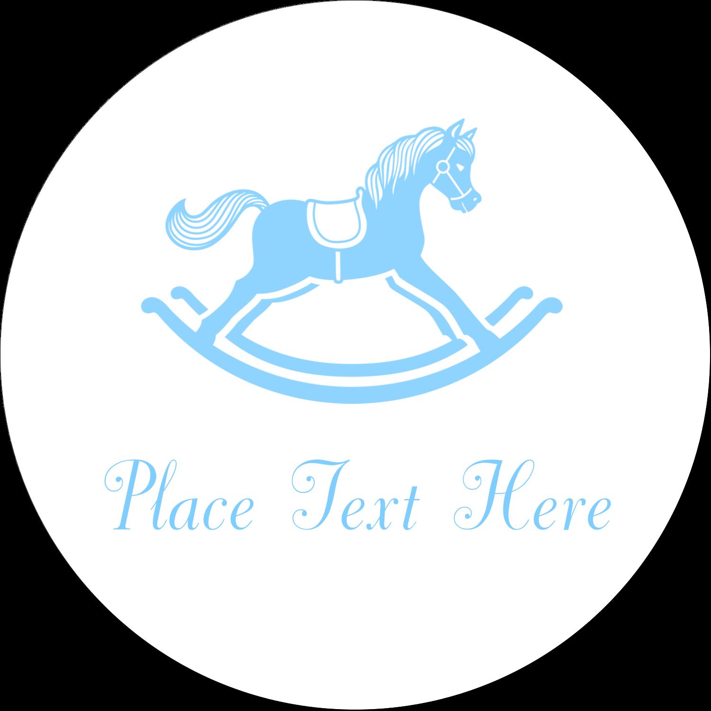 "2"" Embossed Round Label - Baby Rocking Horse"