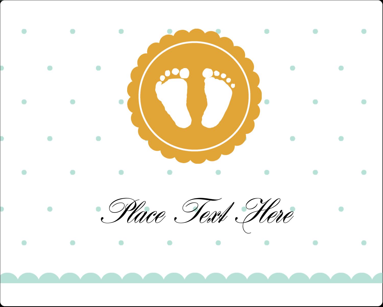 "3"" x 3¾"" Rectangular Label - Baby Footprints"