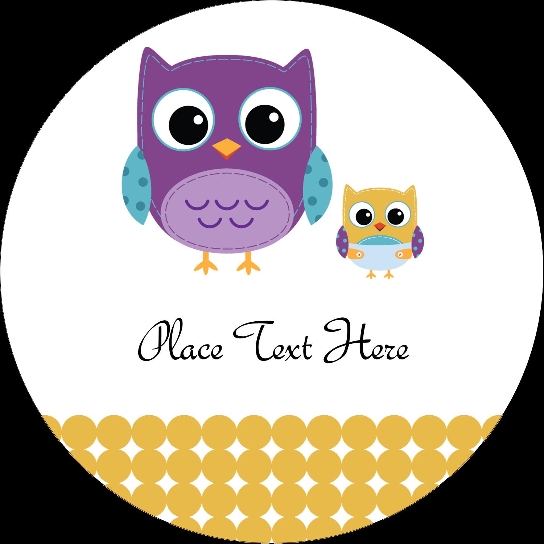"""3"""" Round Label - Baby Owl"""