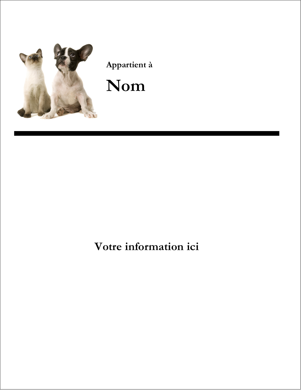 """8½"""" x 11"""" Étiquettes Spéciales - Adorables animaux de compagnie"""
