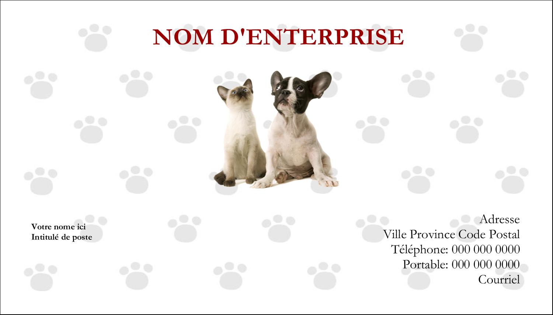 """2"""" x 3½"""" Cartes d'affaires - Adorables animaux de compagnie"""