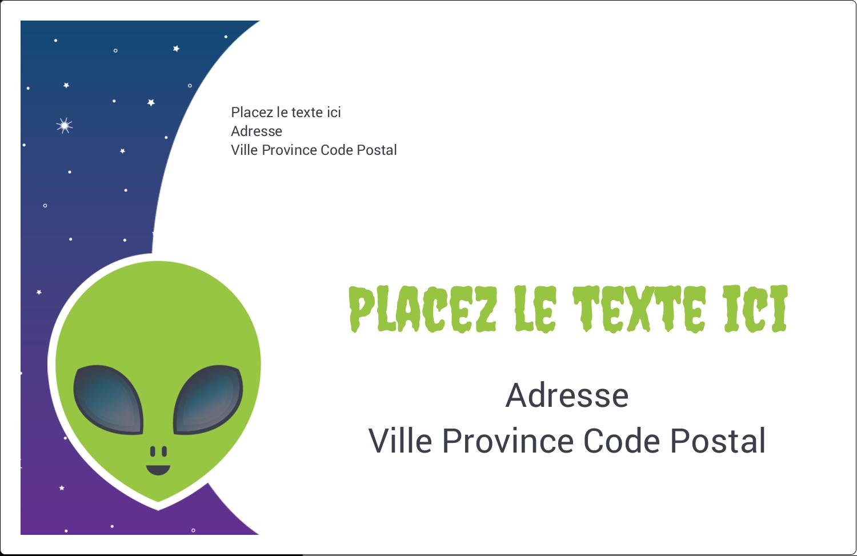 """1½"""" x 4"""" Étiquettes d'adresse - Fête d'extraterrestres"""