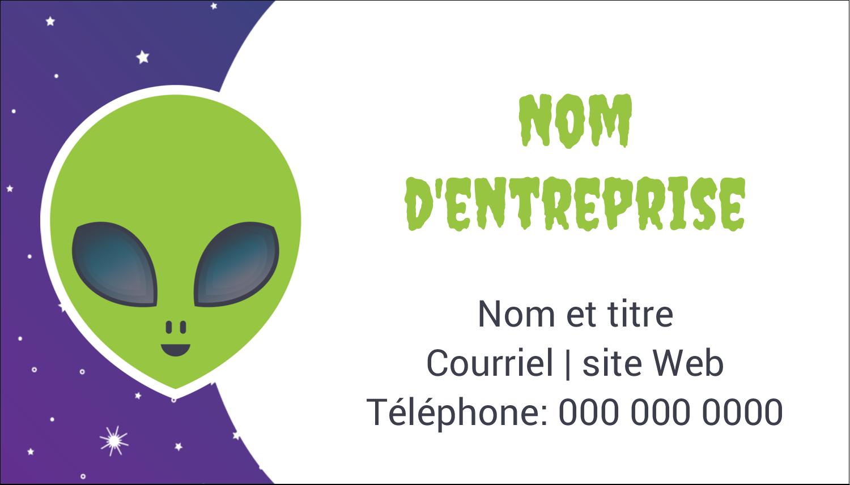 """2"""" x 3½"""" Carte d'affaire - Fête d'extraterrestres"""