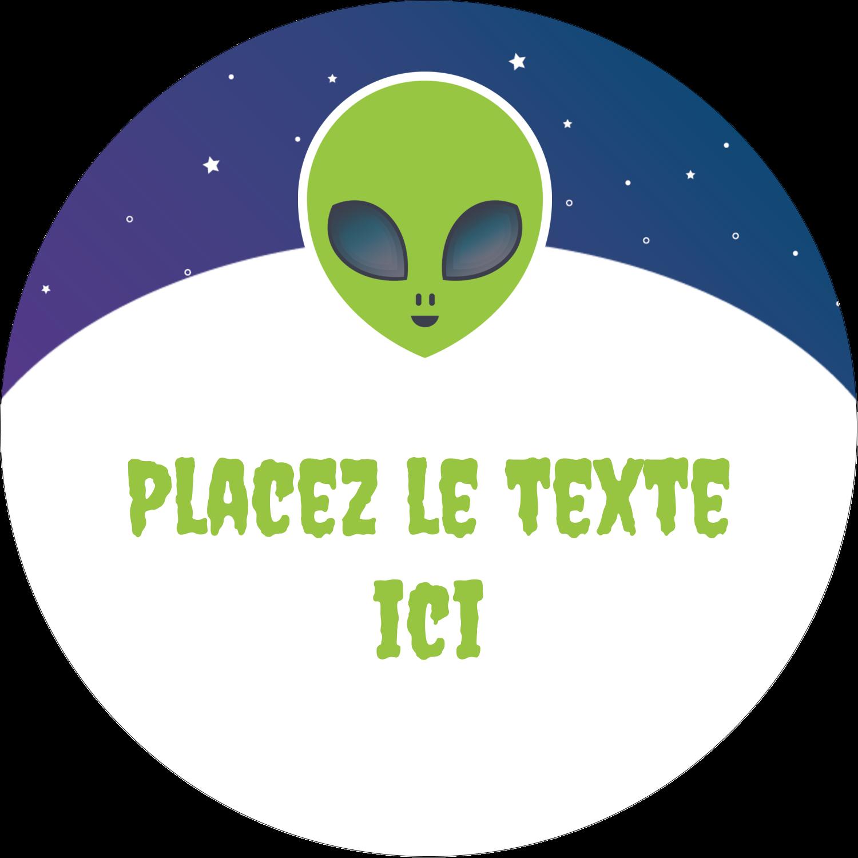 """3"""" x 2¼"""" Étiquettes arrondies - Fête d'extraterrestres"""