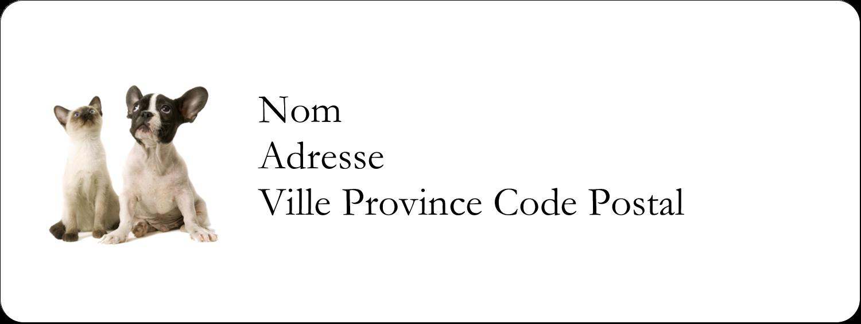 """⅔"""" x 1¾"""" Étiquettes D'Adresse - Adorables animaux de compagnie"""