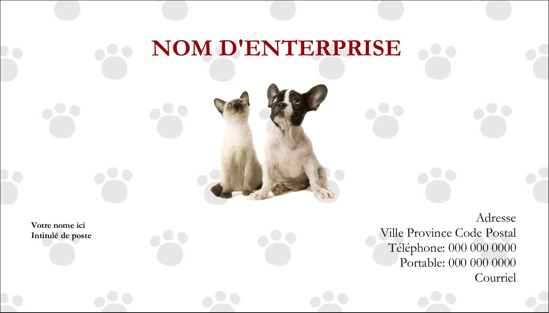 """2"""" x 3½"""" Carte d'affaire - Adorables animaux de compagnie"""