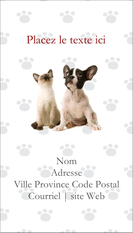 """3½"""" x 2"""" Carte d'affaire - Adorables animaux de compagnie"""