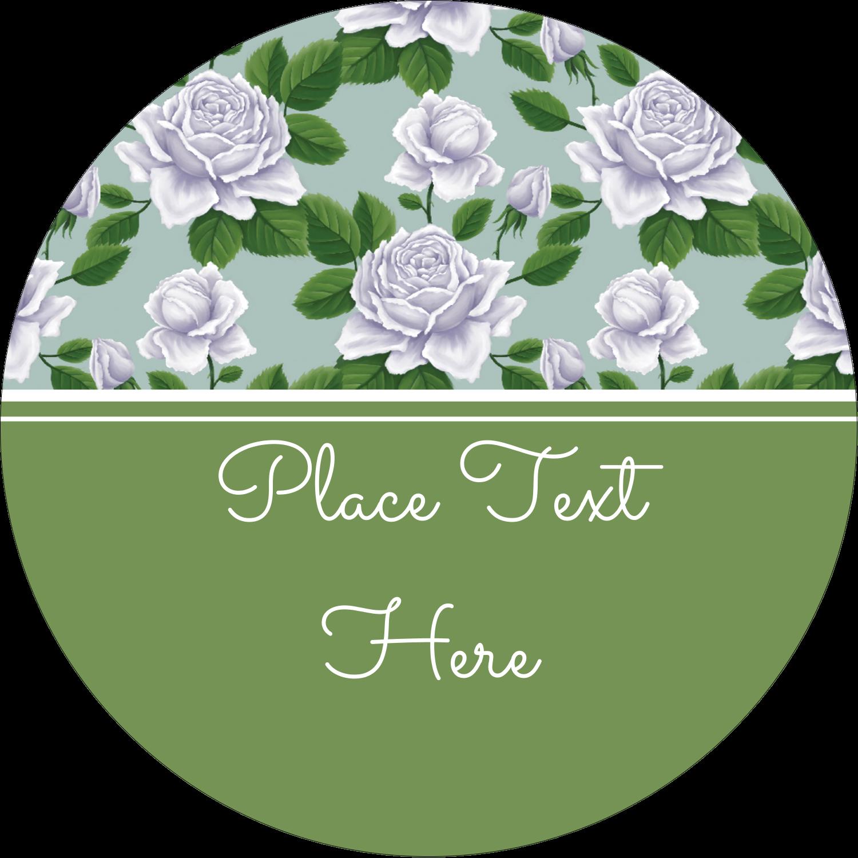"2½"" Round Label - Soap Green Flora"
