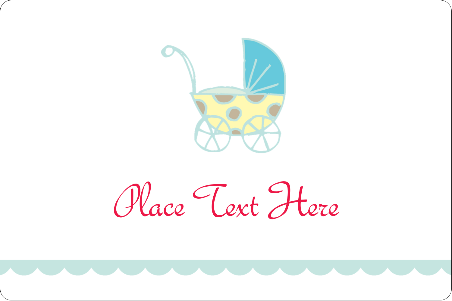 "2"" x 3"" Rectangular Label - Baby Stroller Blue"