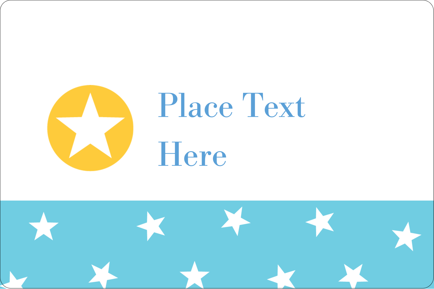 "2"" x 3"" Rectangular Label - Blue Yellow Stars"