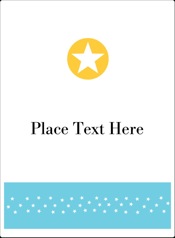 "4¾"" x 3½"" Rectangular Label - Blue Yellow Stars"